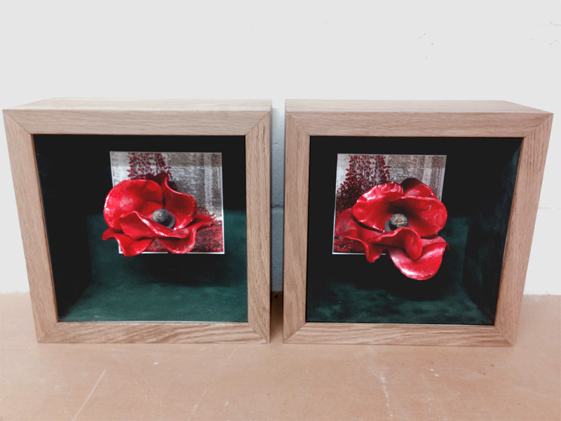 The finished display boxes complete with photograph in the back